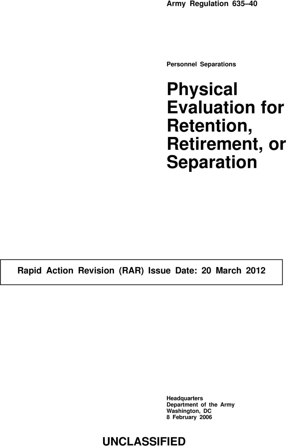 Action Revision (RAR) Issue Date: 20 March 2012