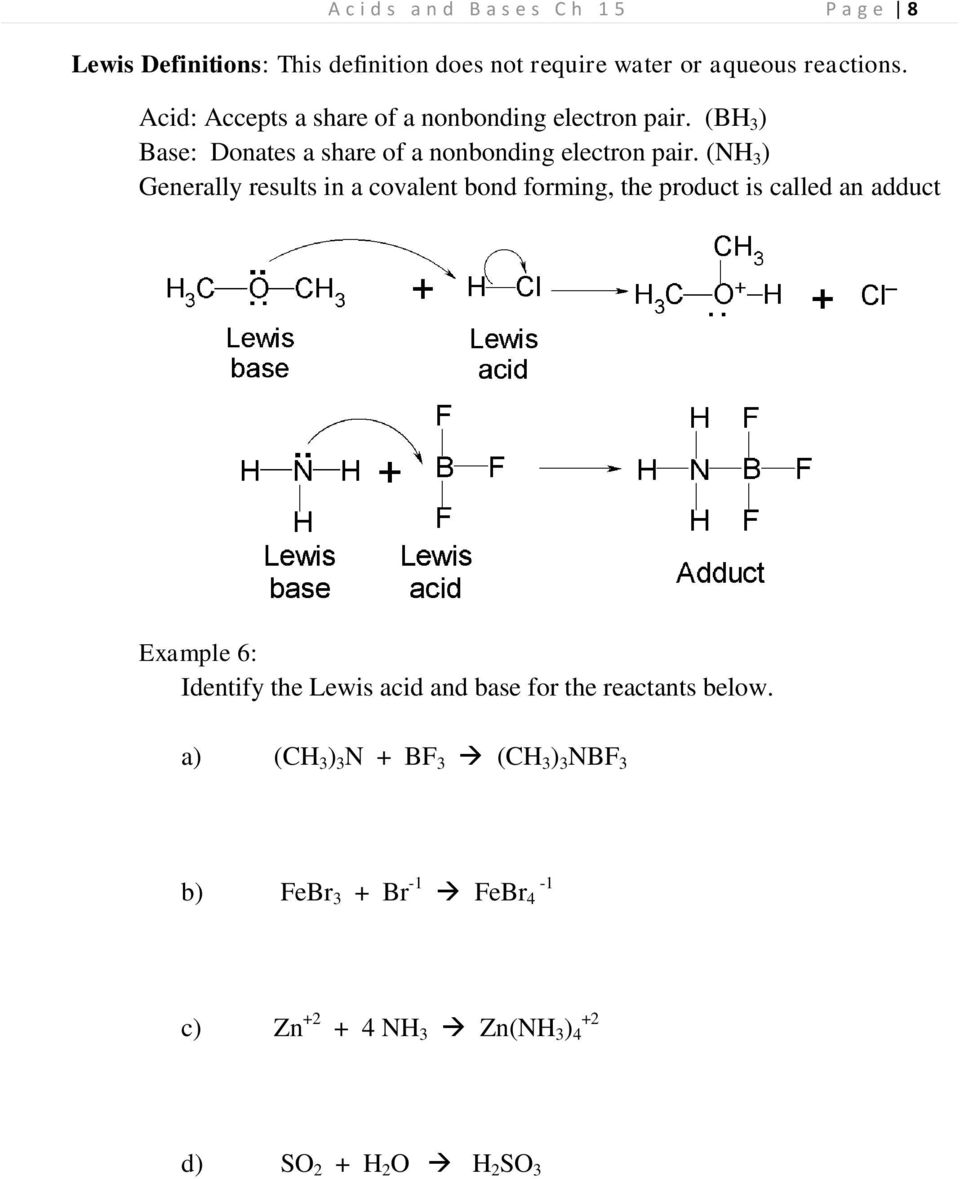(NH 3 ) Generally results in a covalent bond forming, the product is called an adduct Example 6: Identify the Lewis acid and