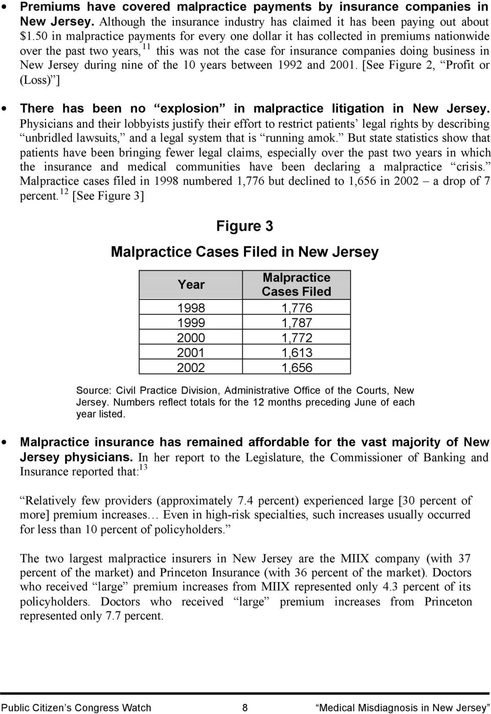 nine of the 10 years between 1992 and 2001. [See Figure 2, Profit or (Loss) ] There has been no explosion in malpractice litigation in New Jersey.