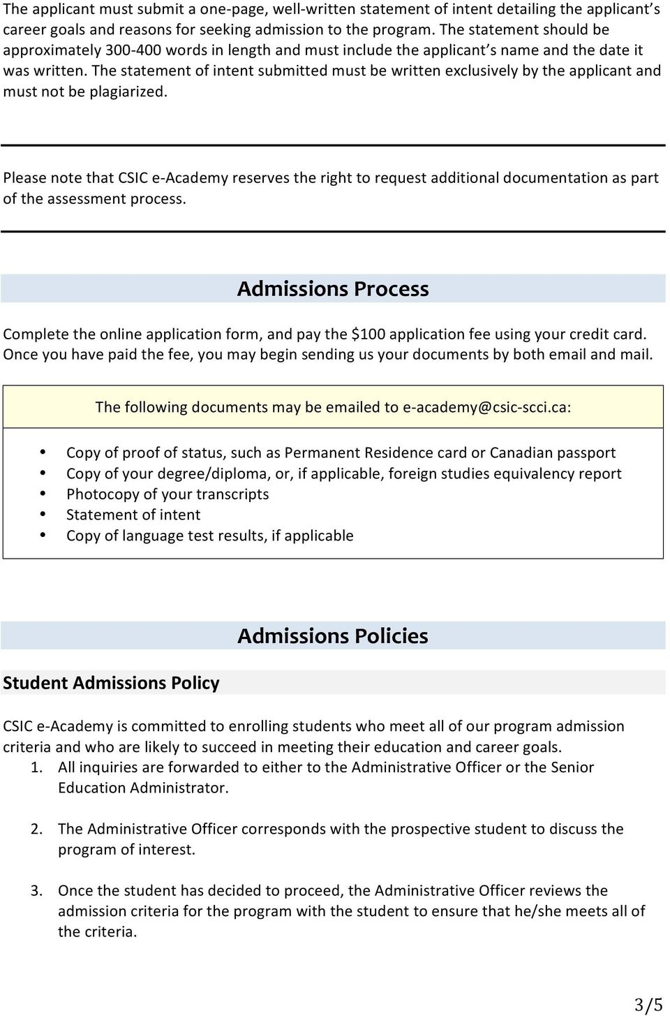 online immigration consultant certificate program pdf the statement of intent submitted must be written exclusively by the applicant and must not be