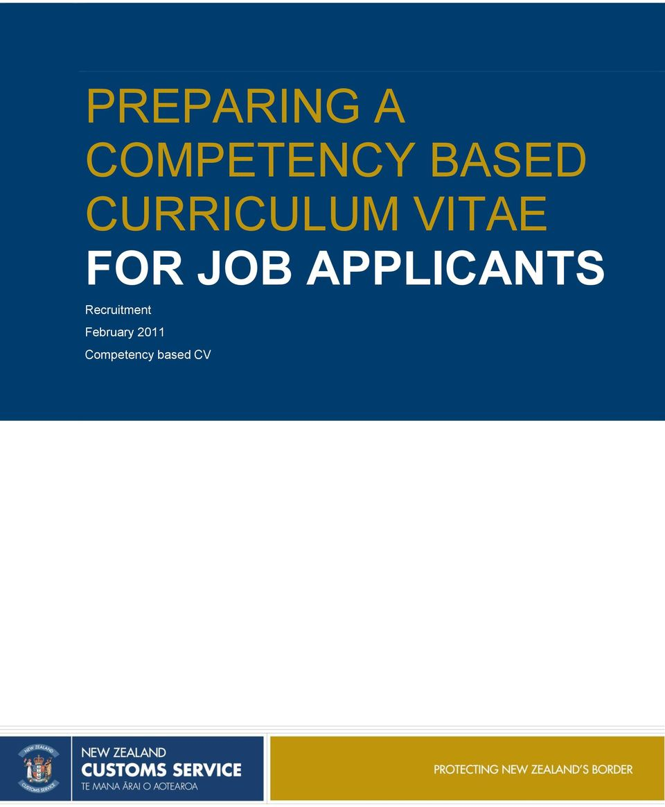 preparing a competency based curriculum vitae for job applicants  recruitment february 2011