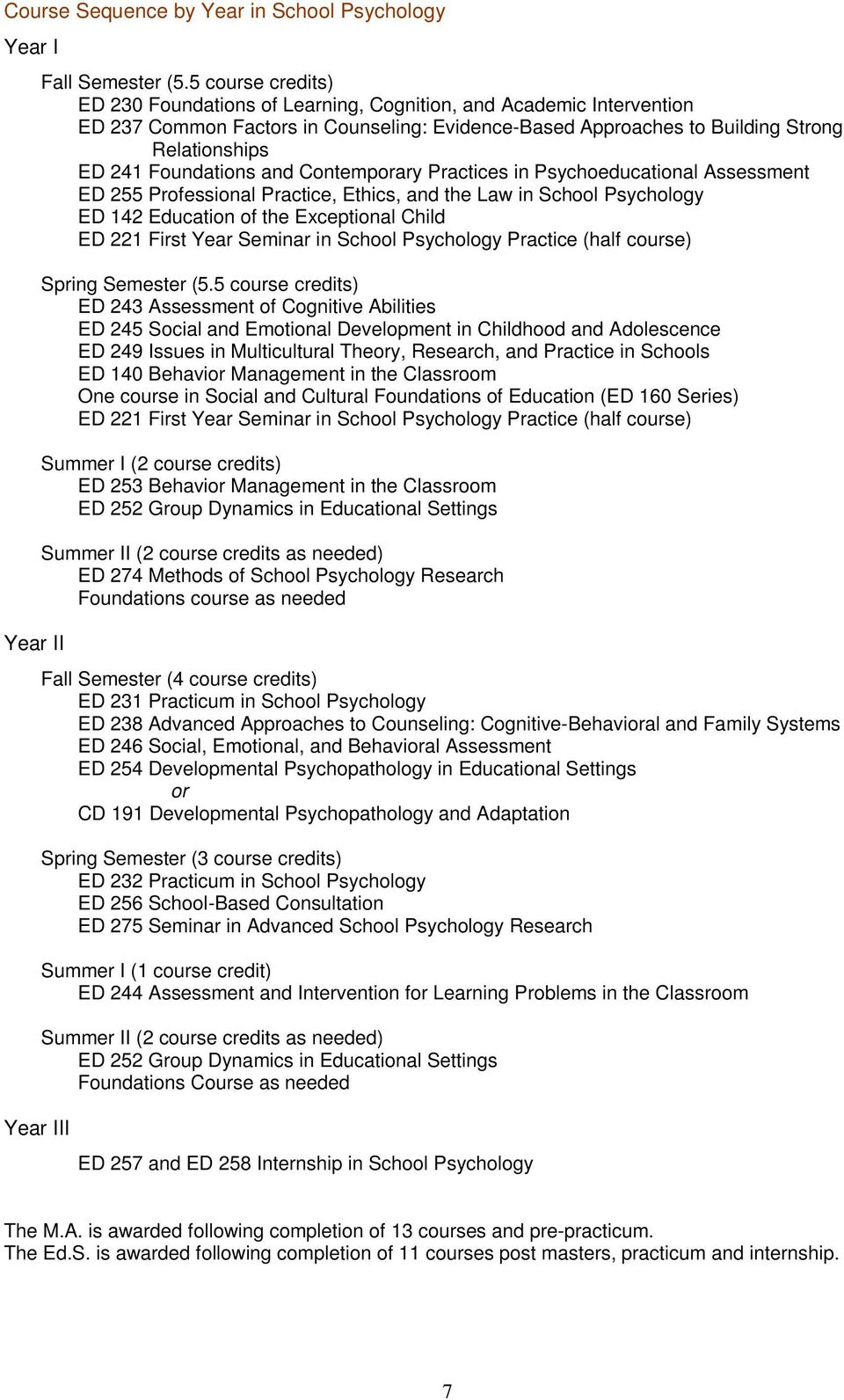 Foundations and Contemporary Practices in Psychoeducational Assessment ED 255 Professional Practice, Ethics, and the Law in School Psychology ED 142 Education of the Exceptional Child ED 221 First
