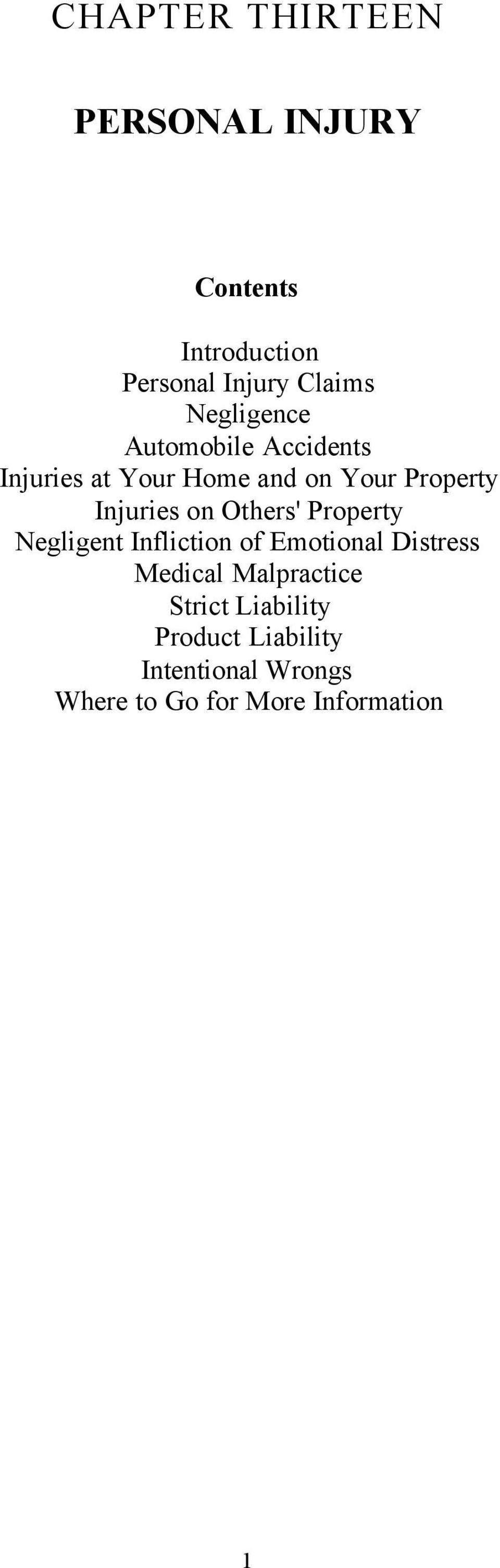 on Others' Property Negligent Infliction of Emotional Distress Medical Malpractice