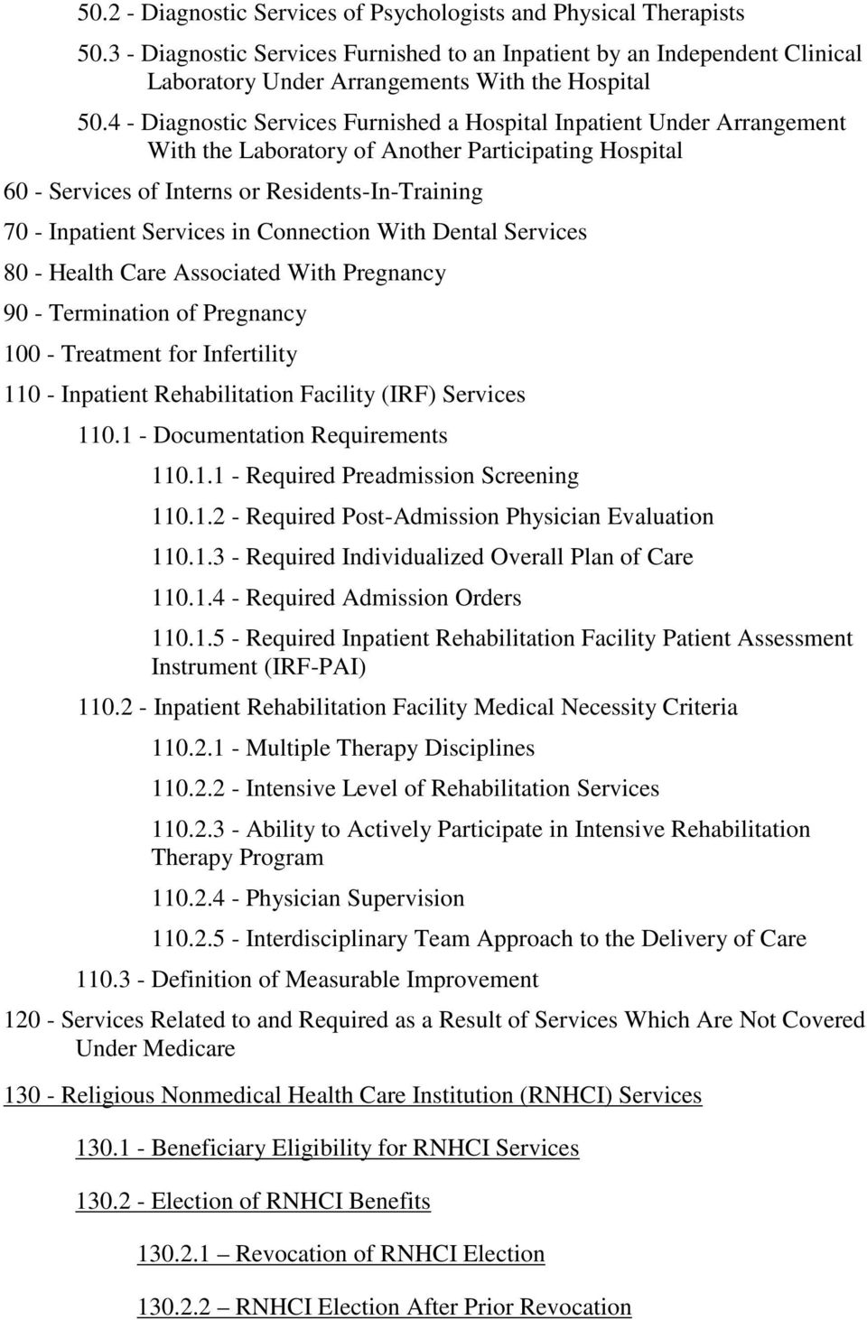 Services in Connection With Dental Services 80 - Health Care Associated With Pregnancy 90 - Termination of Pregnancy 100 - Treatment for Infertility 110 - Inpatient Rehabilitation Facility (IRF)