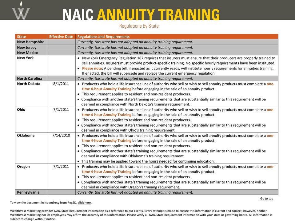 Please note: A pending bill, if enacted as it currently reads, will institute hourly requirements for annuities training.