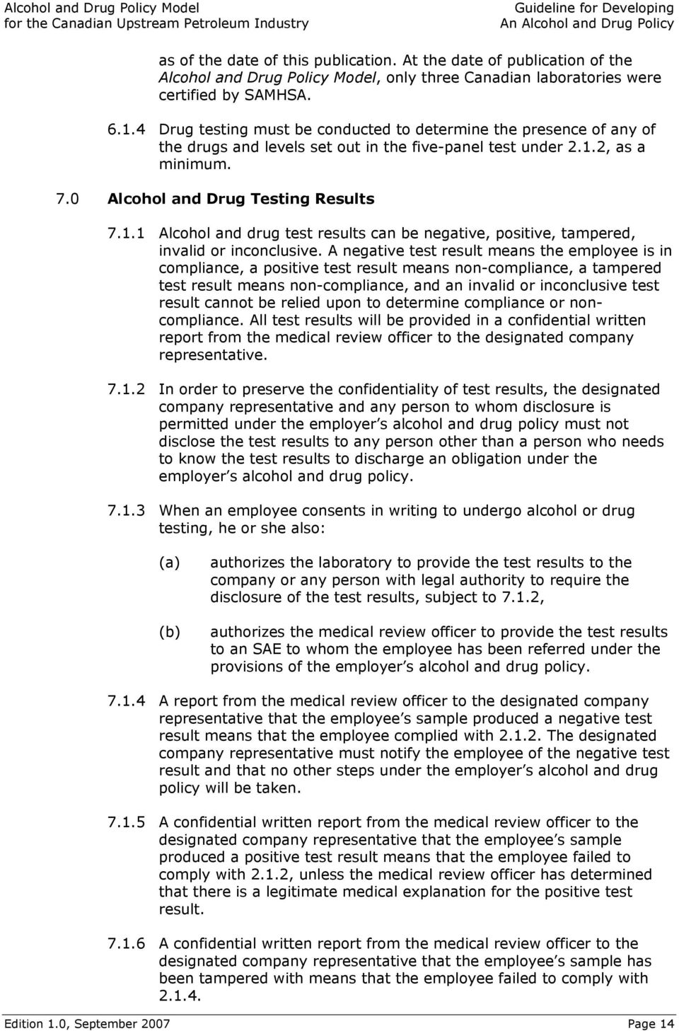 ALCOHOL AND DRUG POLICY MODEL FOR THE CANADIAN UPSTREAM