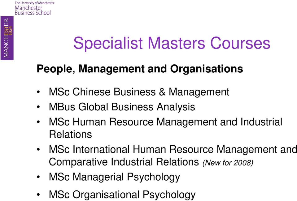 and Industrial Relations MSc International Human Resource Management and
