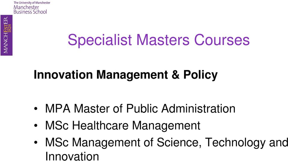 Administration MSc Healthcare Management