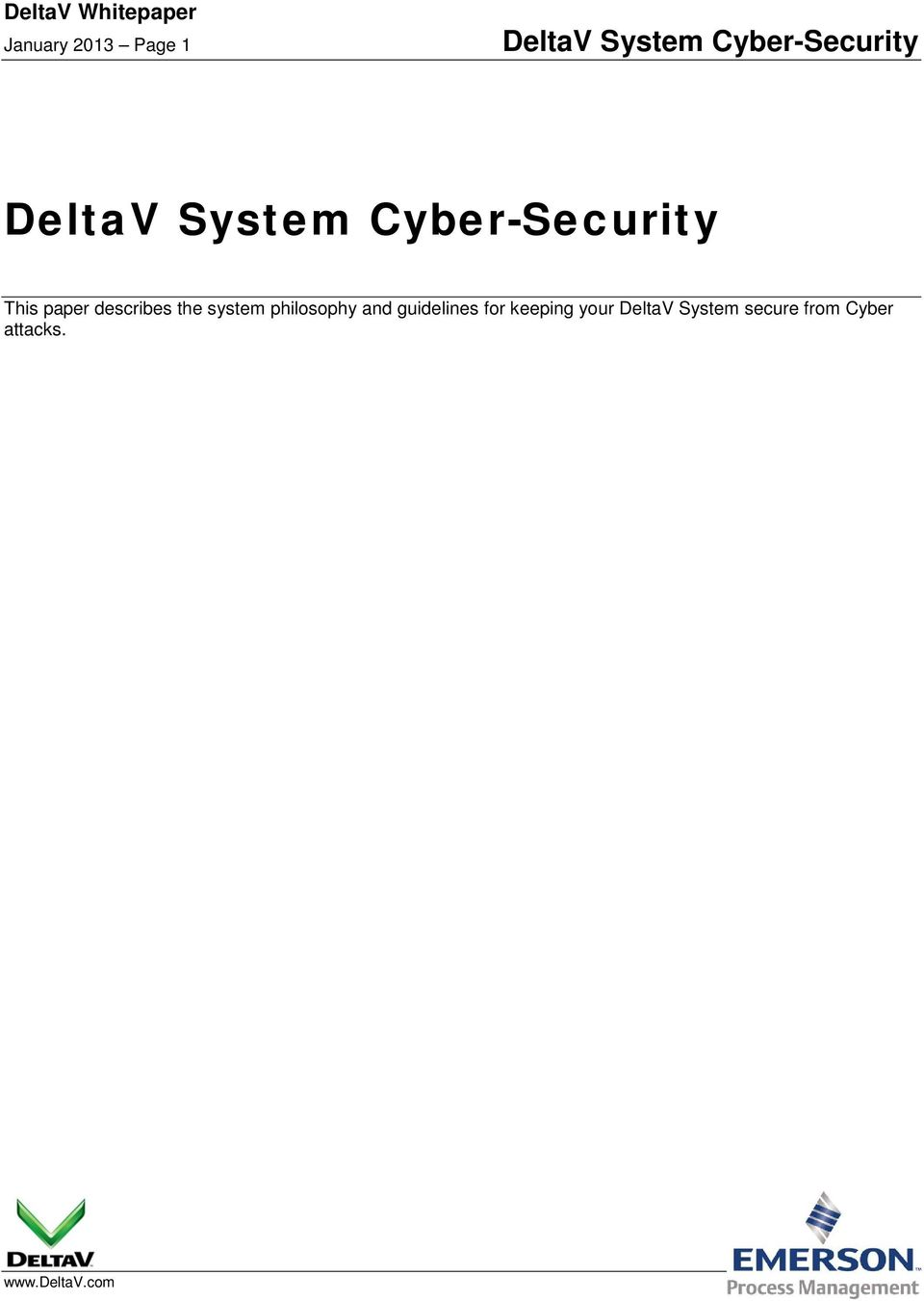 guidelines for keeping your DeltaV