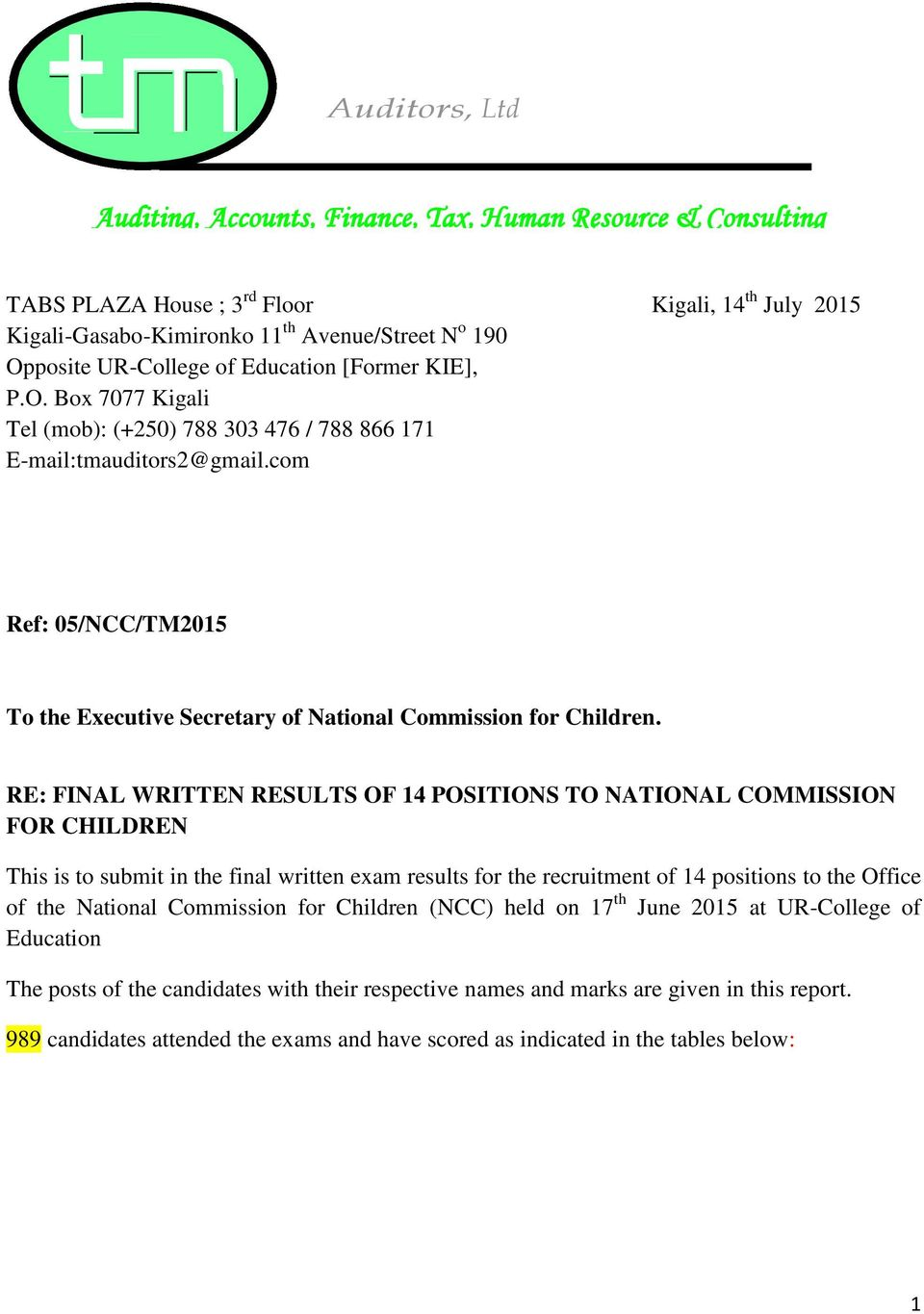 com Ref: 05/NCC/TM2015 To the Executive Secretary of National Commission for Children.