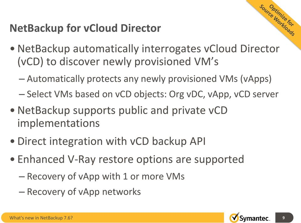 server NetBackup supports public and private vcd implementations Direct integration with vcd backup API Enhanced V-Ray