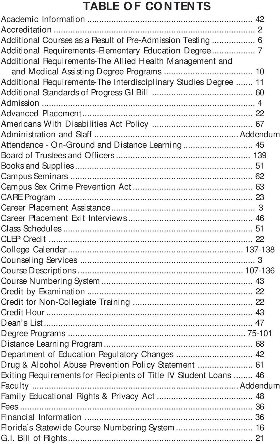 .. 11 Additional Standards of Progress-GI Bill... 60 Admission... 4 Advanced Placement... 22 Americans With Disabilities Act Policy... 67 Administration and Staff.