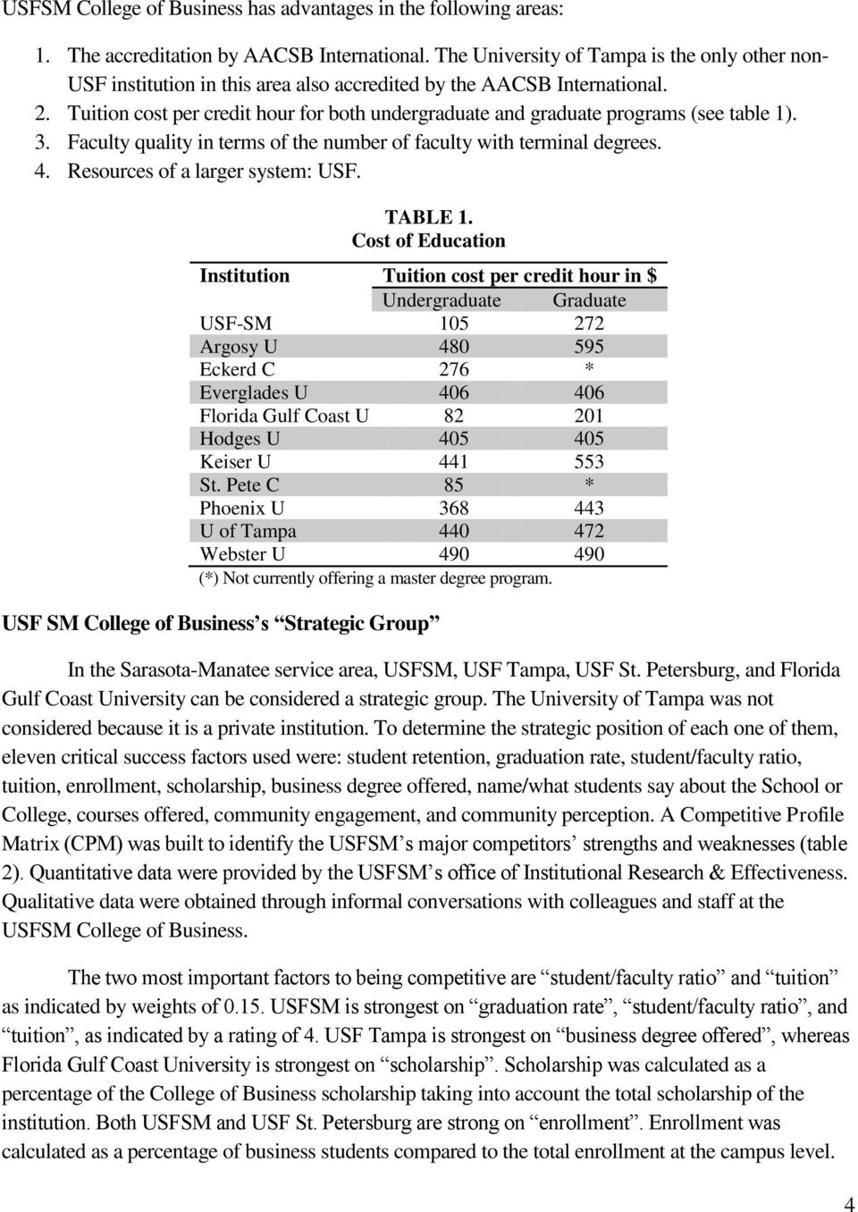Tuition cost per credit hour for both undergraduate and graduate programs (see table 1). 3. Faculty quality in terms of the number of faculty with terminal degrees. 4.