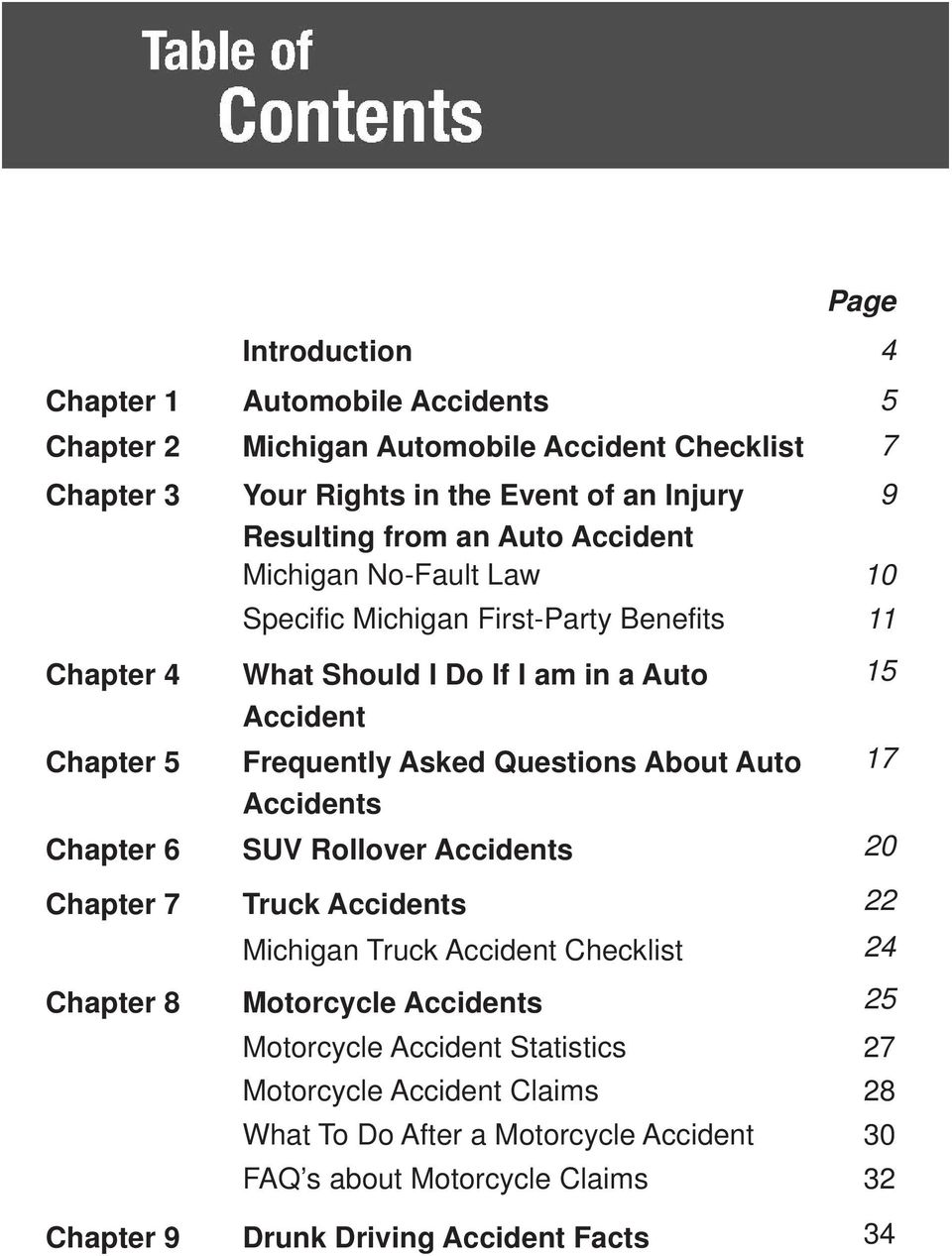 Questions About Auto 17 Accidents Chapter 6 SUV Rollover Accidents 20 Chapter 7 Truck Accidents 22 Michigan Truck Accident Checklist 24 Chapter 8 Motorcycle Accidents 25
