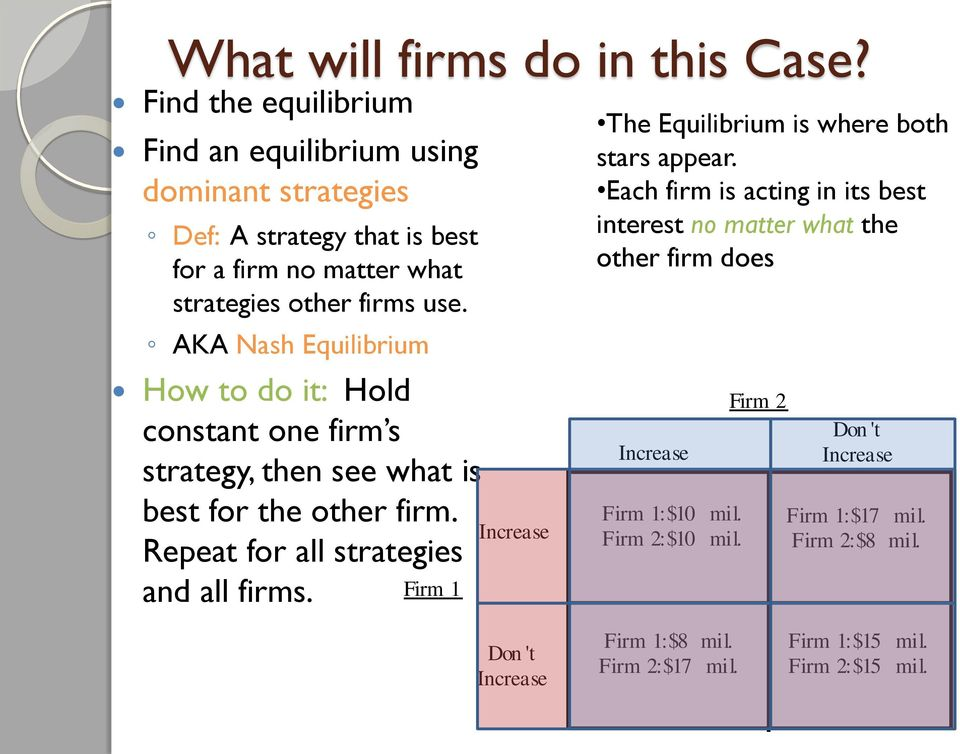 AKA Nash Equilibrium How to do it: Hold constant one firm s strategy, then see what is best for the other firm. Repeat for all strategies and all firms.