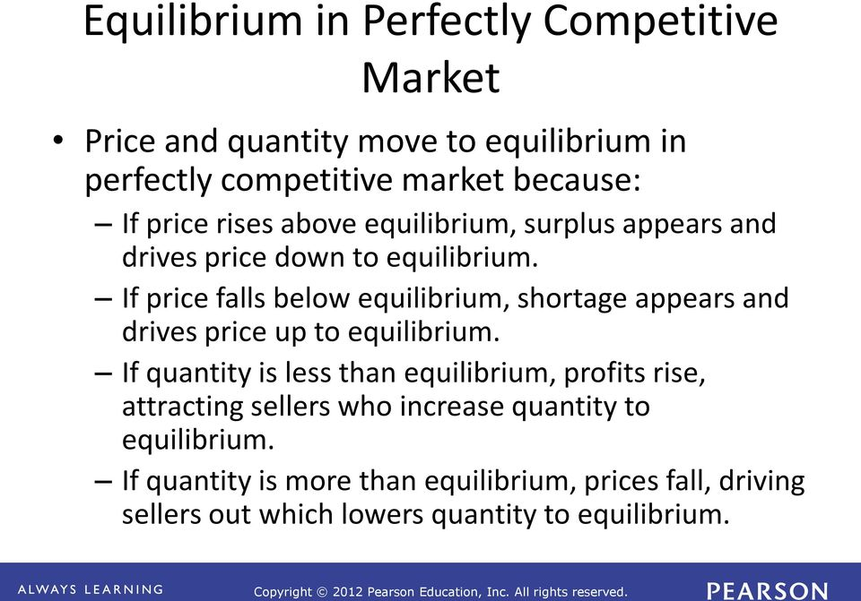 If price falls below equilibrium, shortage appears and drives price up to equilibrium.