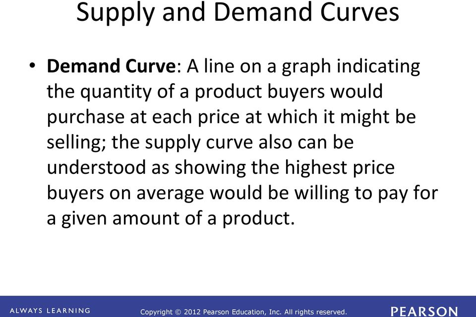 be selling; the supply curve also can be understood as showing the highest