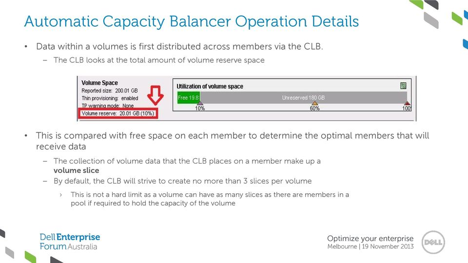 will receive data The collection of volume data that the CLB places on a member make up a volume slice By default, the CLB will strive to create
