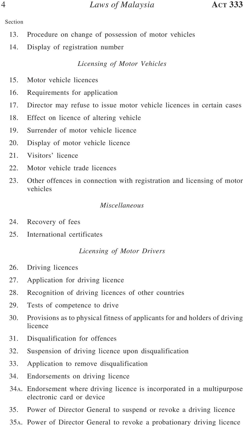 Display of motor vehicle licence 21. Visitors licence 22. Motor vehicle trade licences 23. Other offences in connection with registration and licensing of motor vehicles 24. Recovery of fees 25.