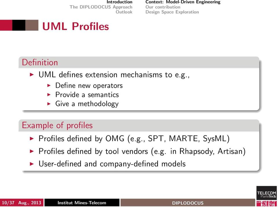 , Define new operators Provide a semantics Give a methodology Example of profiles Profiles defined by OMG