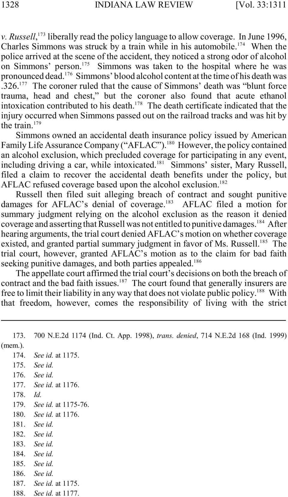 Simmons blood alcohol content at the time of his death was 177.326.