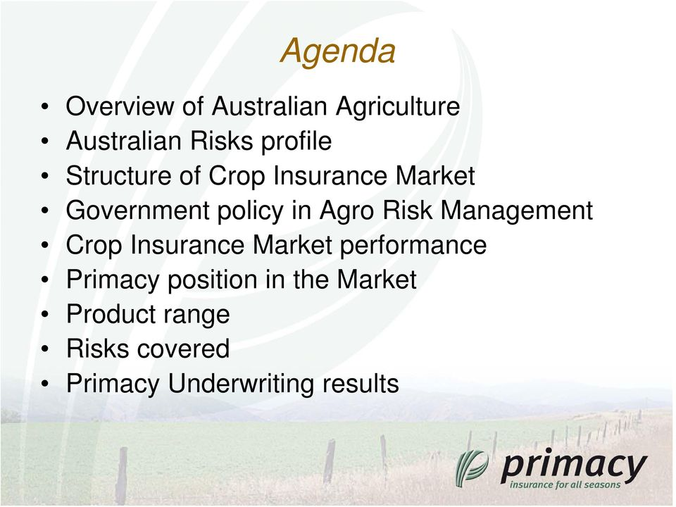Management Crop Insurance Market performance Primacy position in