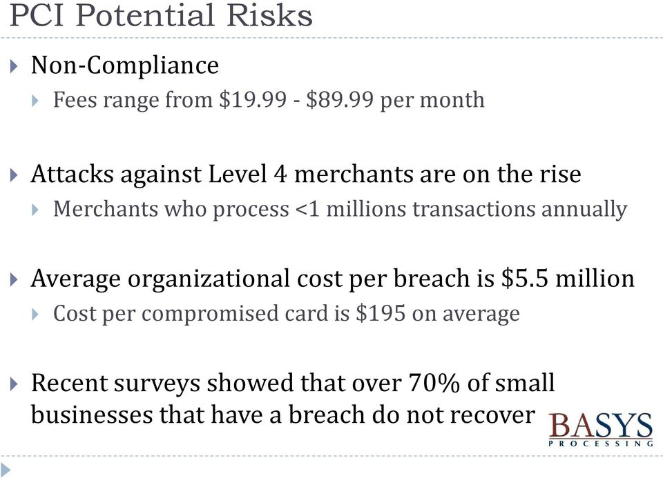 millions transactions annually Average organizational cost per breach is $5.