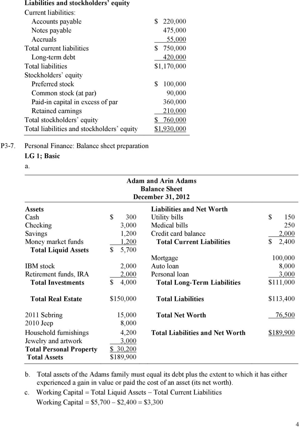 liabilities and stockholders equity $1,930,000 P3-7.