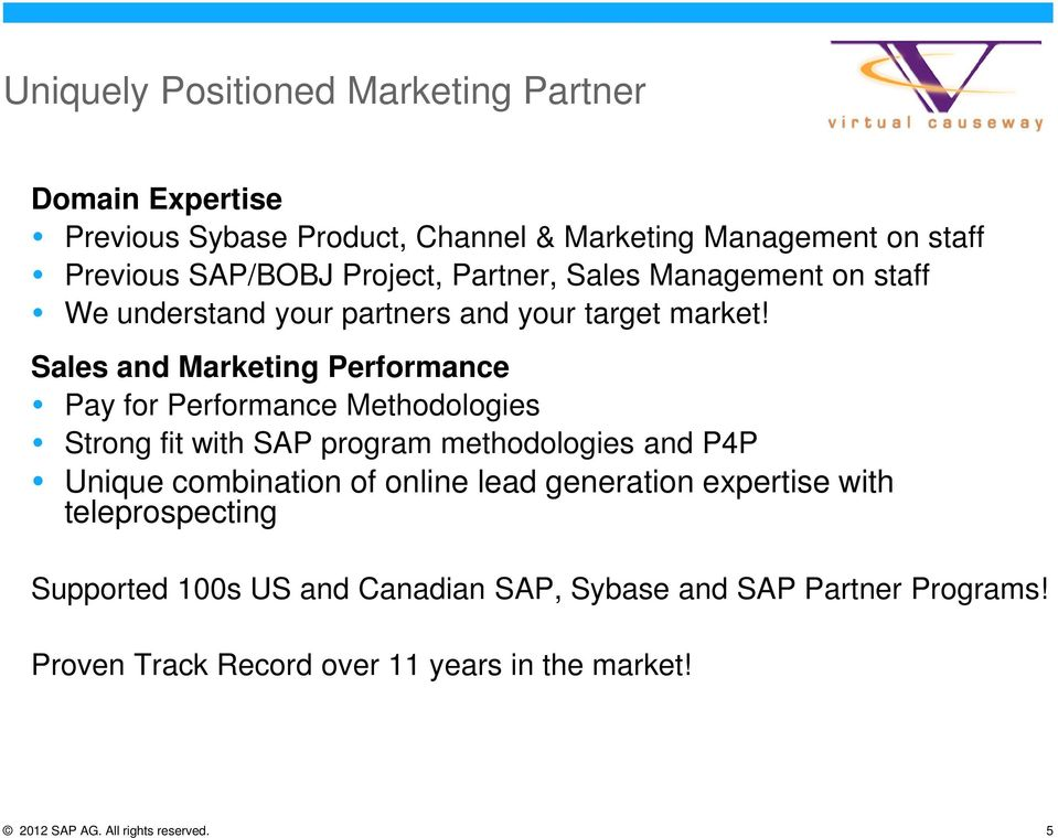 Sales and Marketing Performance Pay for Performance Methodologies Strong fit with SAP program methodologies and P4P Unique combination of online
