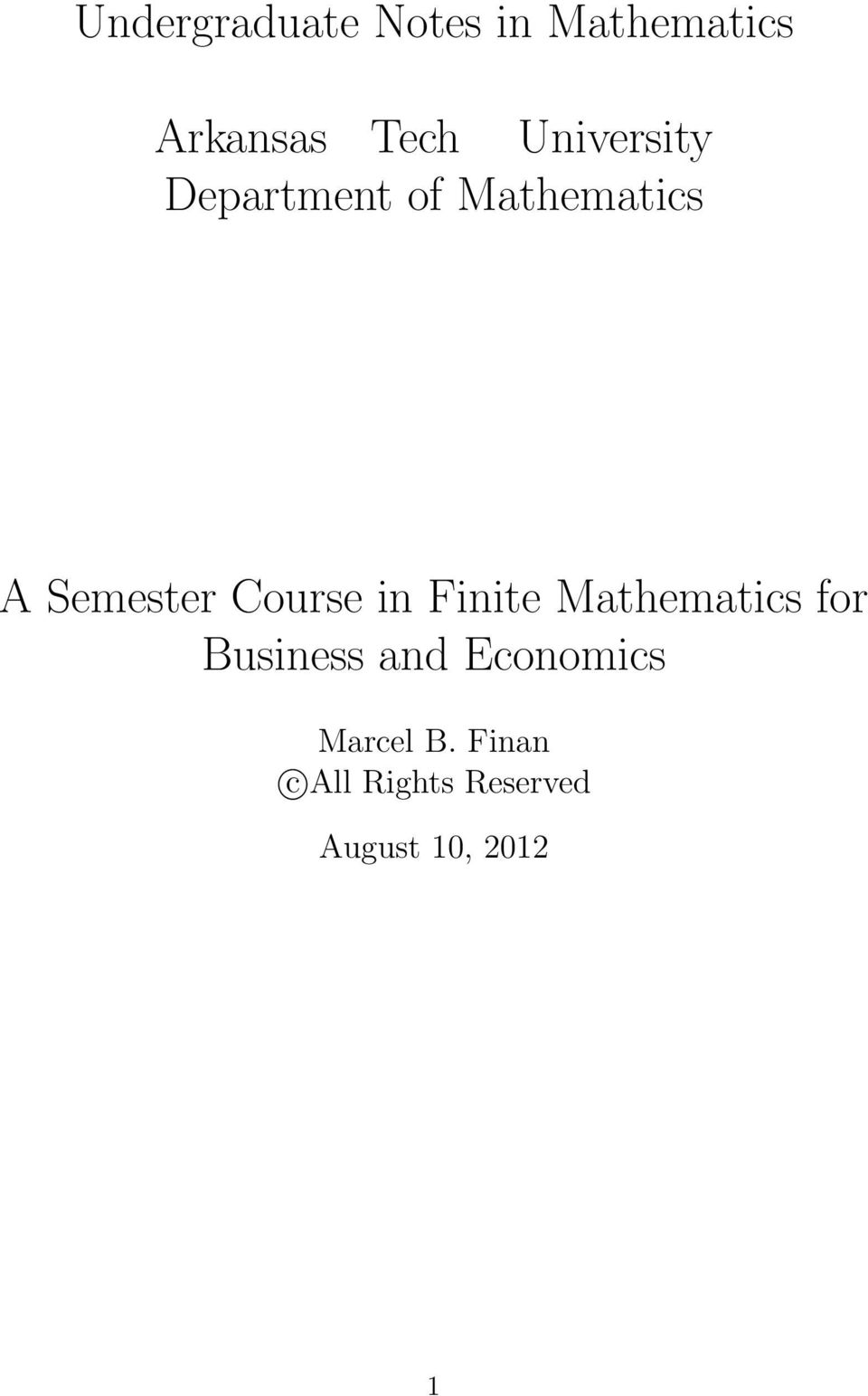 Course in Finite Mathematics for Business and