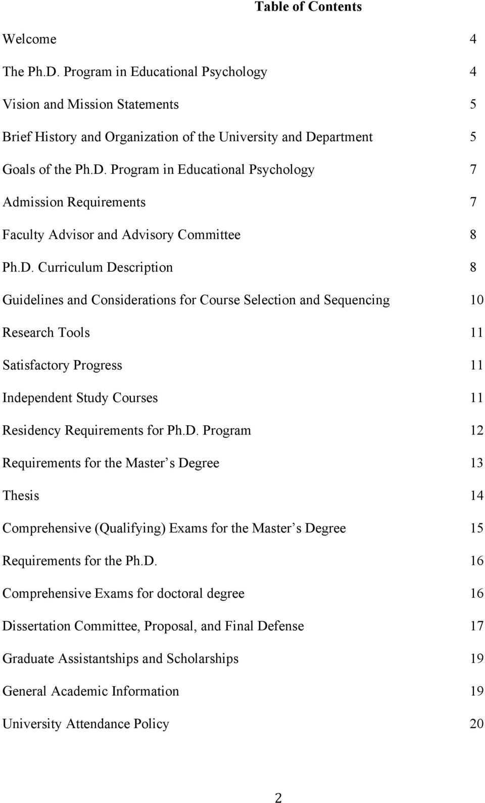 D. Program 12 Requirements for the Master s Degree 13 Thesis 14 Comprehensive (Qualifying) Exams for the Master s Degree 15 Requirements for the Ph.D. 16 Comprehensive Exams for doctoral degree 16