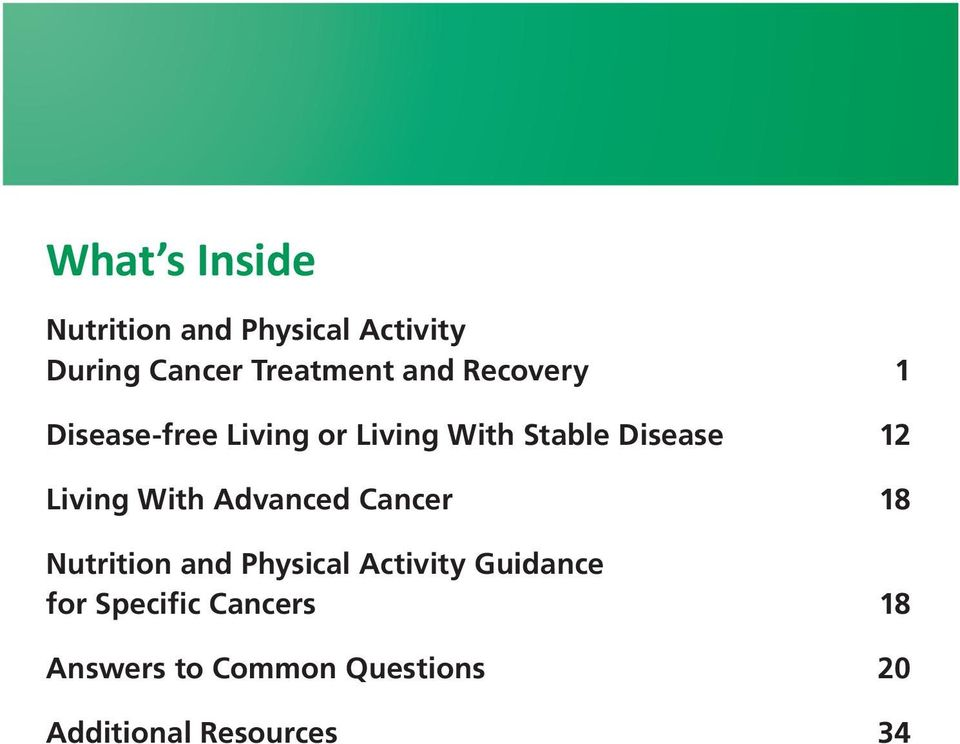 Living With Advanced Cancer 18 Nutrition and Physical Activity Guidance