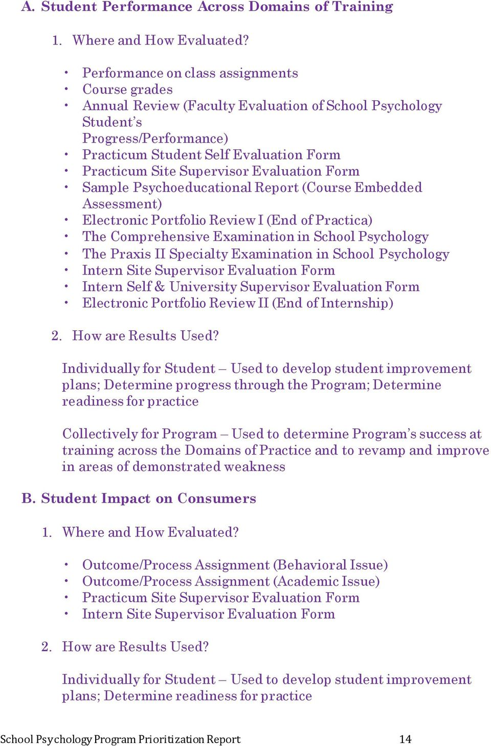 Evaluation Form Sample Psychoeducational Report (Course Embedded Assessment) Electronic Portfolio Review I (End of Practica) The Comprehensive Examination in School Psychology The Praxis II Specialty