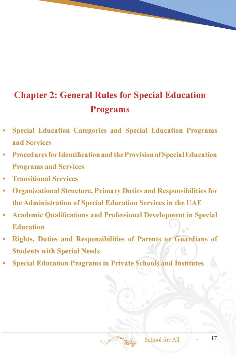 Responsibilities for the Administration of Special Education Services in the UAE Academic Qualifications and Professional Development in Special