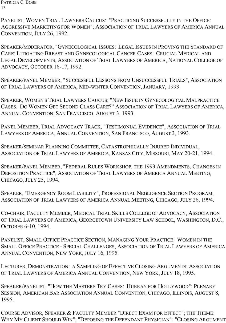 LAWYERS OF AMERICA, NATIONAL COLLEGE OF ADVOCACY, OCTOBER 16-17, 1992.