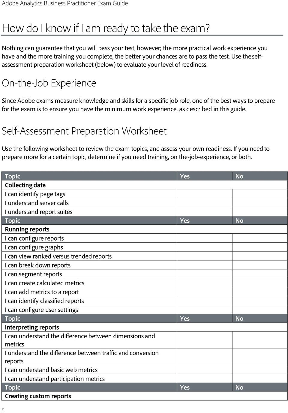 Use the selfassessment preparation worksheet (below) to evaluate your level of readiness.