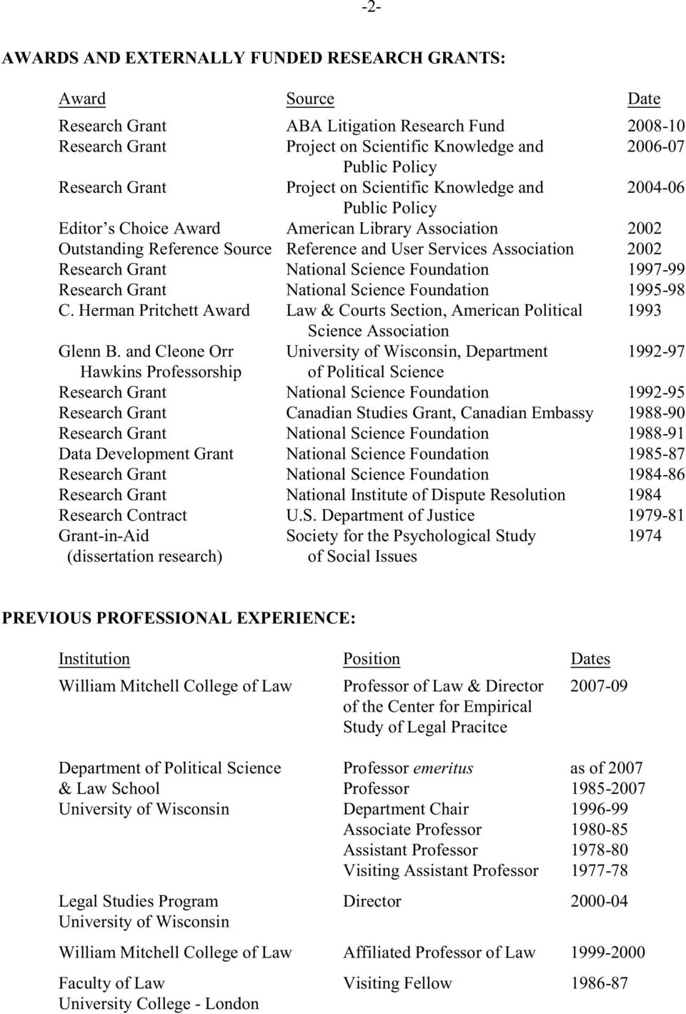 2002 Research Grant National Science Foundation 1997-99 Research Grant National Science Foundation 1995-98 C.