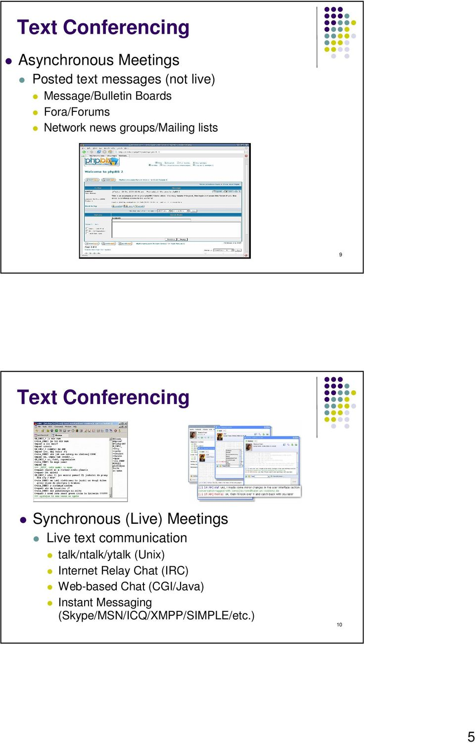 Conferencing Synchronous (Live) Meetings Live text communication talk/ntalk/ytalk