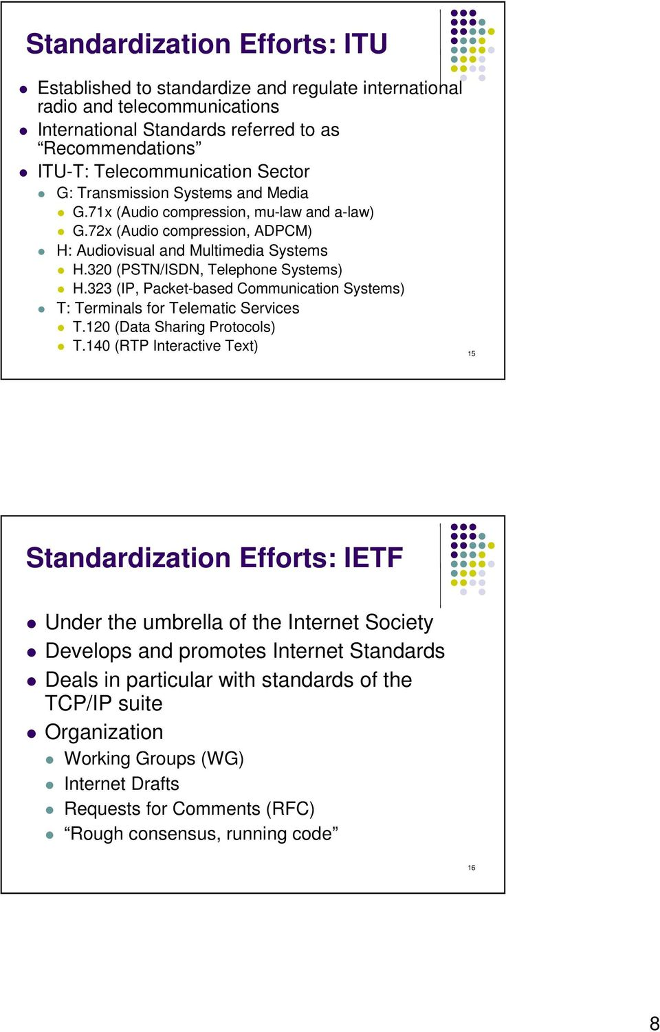 323 (IP, Packet-based Communication Systems) T: Terminals for Telematic Services T.120 (Data Sharing Protocols) T.