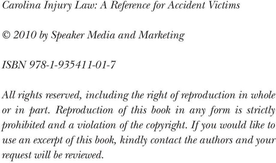 Reproduction of this book in any form is strictly prohibited and a violation of the copyright.