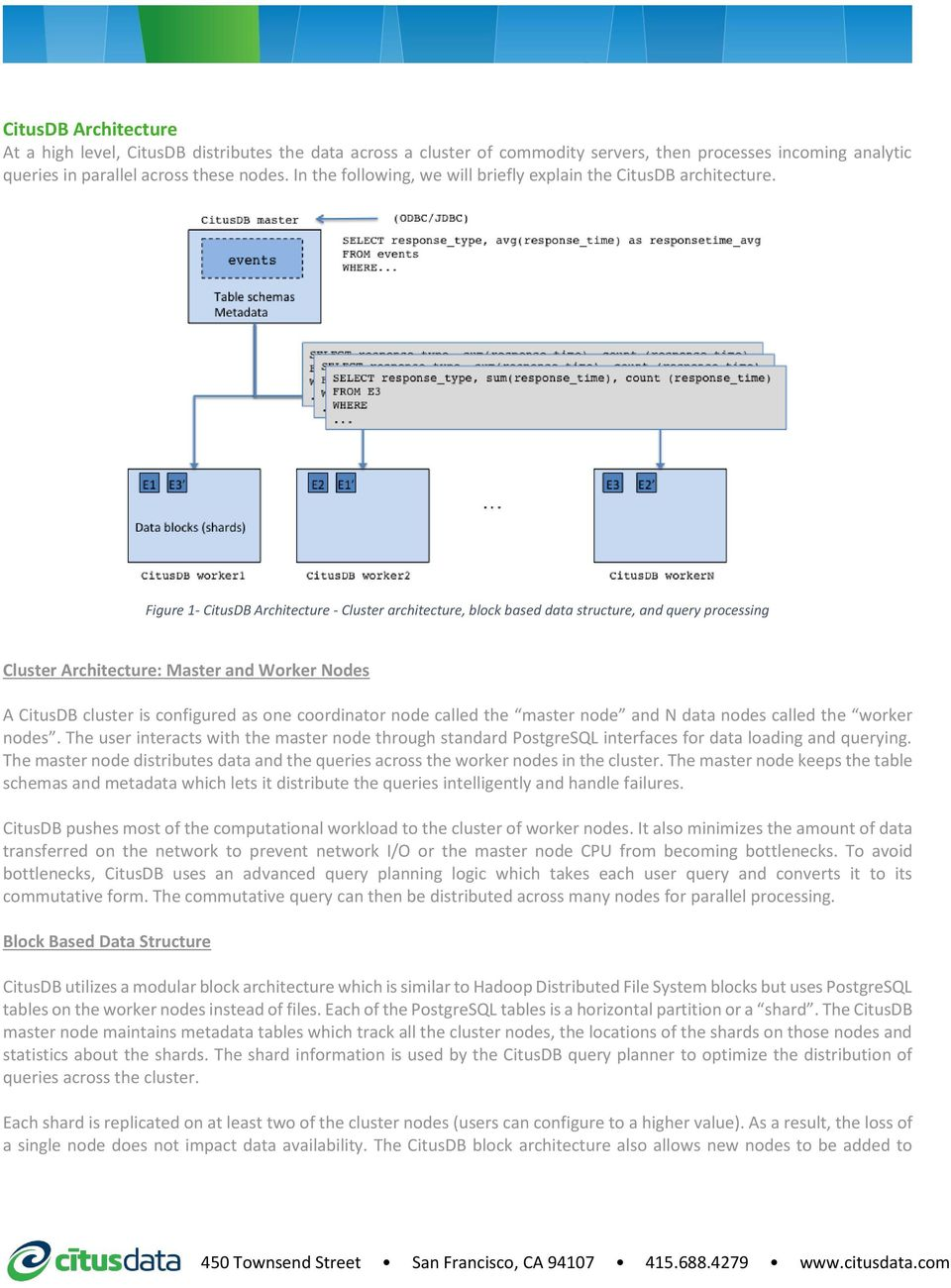Figure 1- CitusDB Architecture - Cluster architecture, block based data structure, and query processing Cluster Architecture: Master and Worker Nodes A CitusDB cluster is configured as one