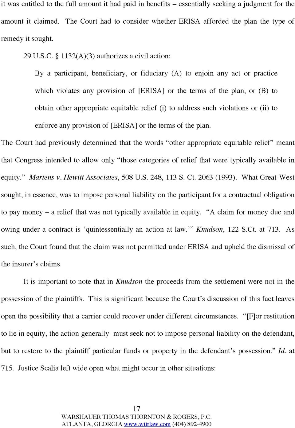 urt had to consider whether ERISA afforded the plan the type of remedy it sought. 29 U.S.C.