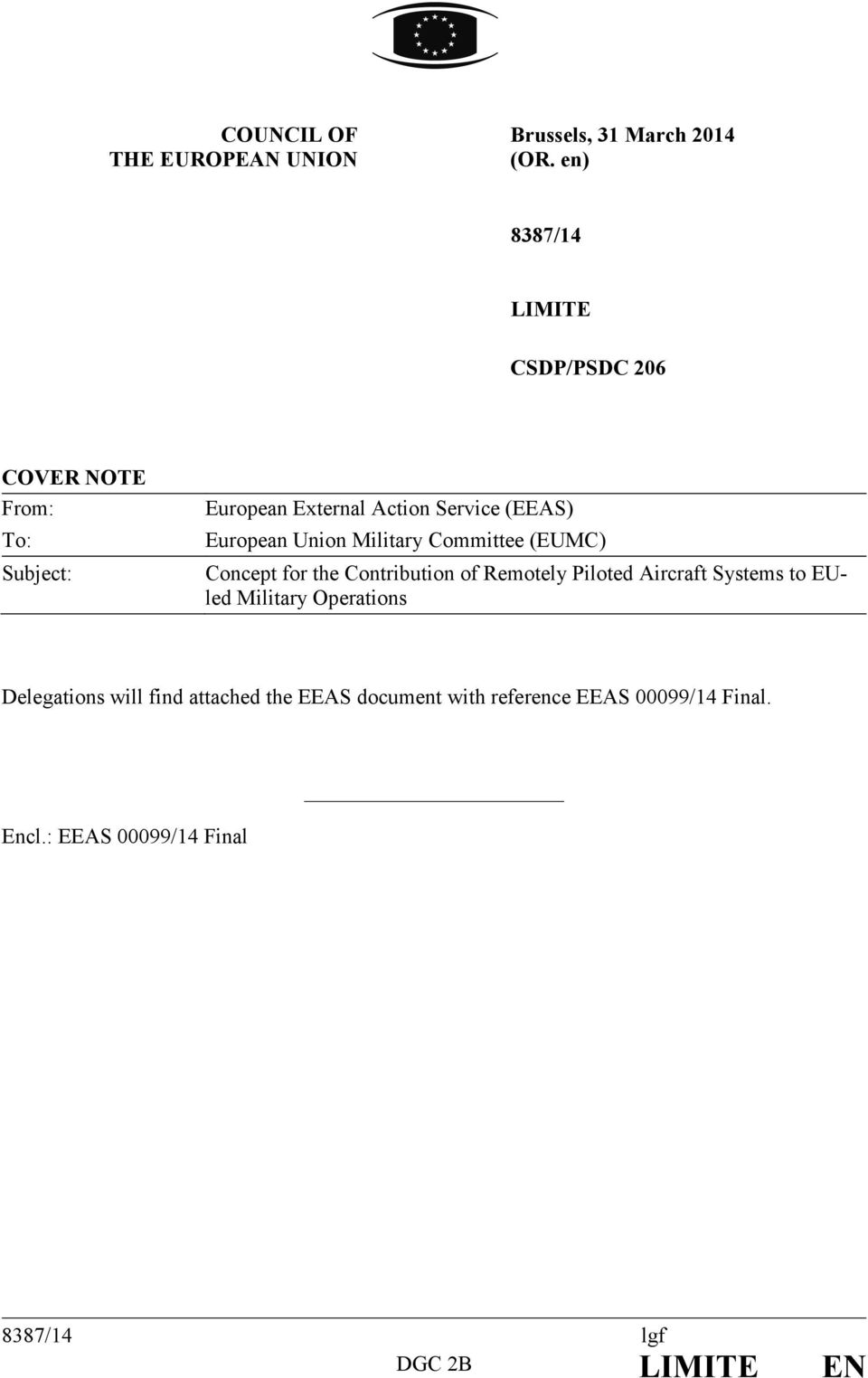 European Union Military Committee (EUMC) Concept for the Contribution of Remotely Piloted Aircraft Systems