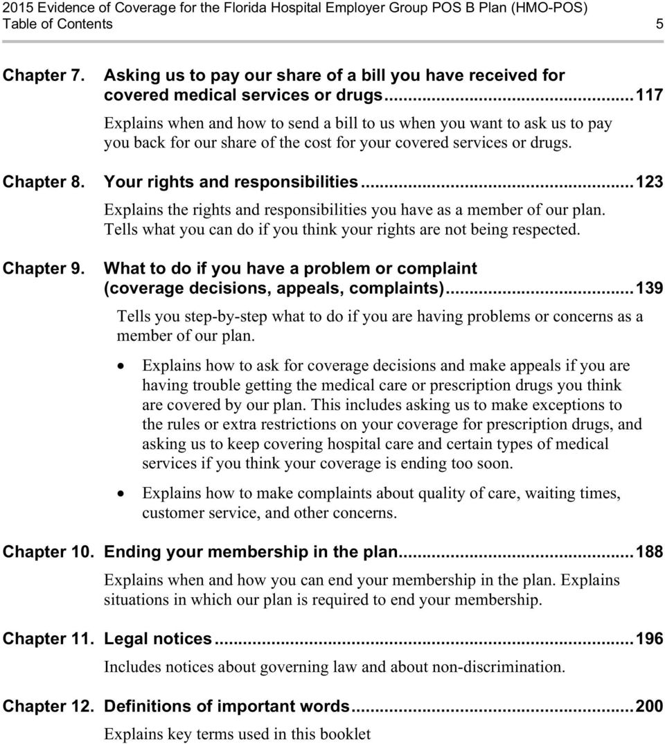 ..123 Explains the rights and responsibilities you have as a member of our plan. Tells what you can do if you think your rights are not being respected. Chapter 9.