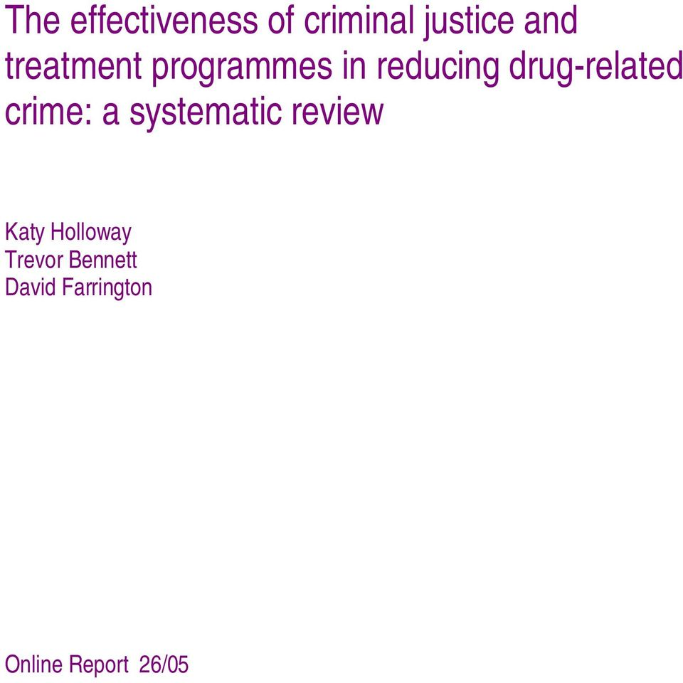 drug-related crime: a systematic review Katy