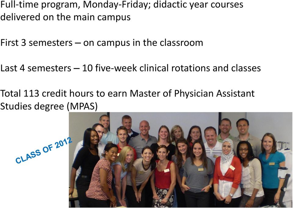 semesters 10 five-week clinical rotations and classes Total 113