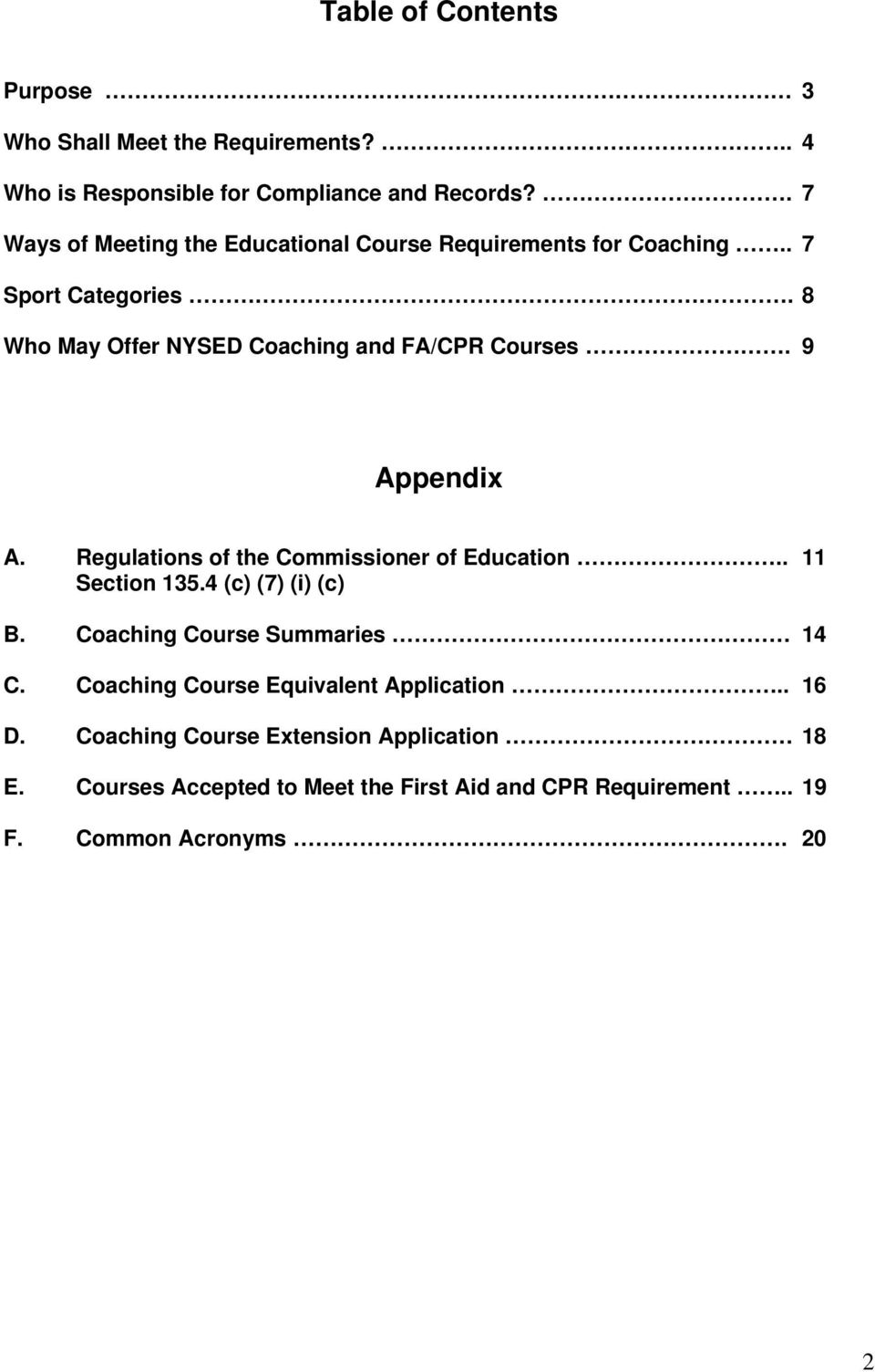 9 Appendix A. Regulations of the Commissioner of Education.. 11 Section 135.4 (c) (7) (i) (c) B. Coaching Course Summaries 14 C.