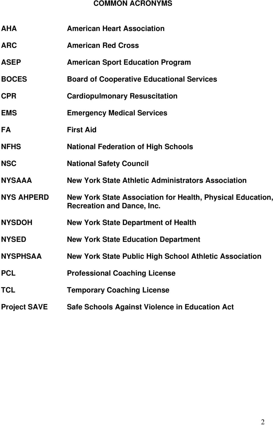 Council New York State Athletic Administrators Association New York State Association for Health, Physical Education, Recreation and Dance, Inc.