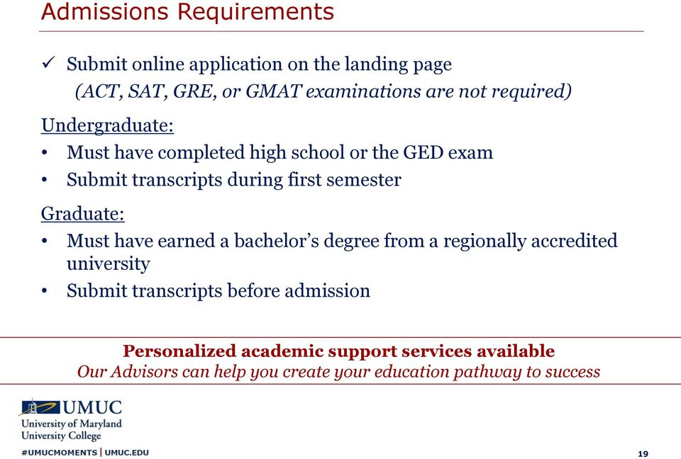 Graduate: Must have earned a bachelor s degree from a regionally accredited university Submit transcripts before