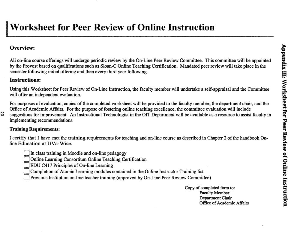 Mandated peer review will take place in the semester following initial offering and then every third year following.